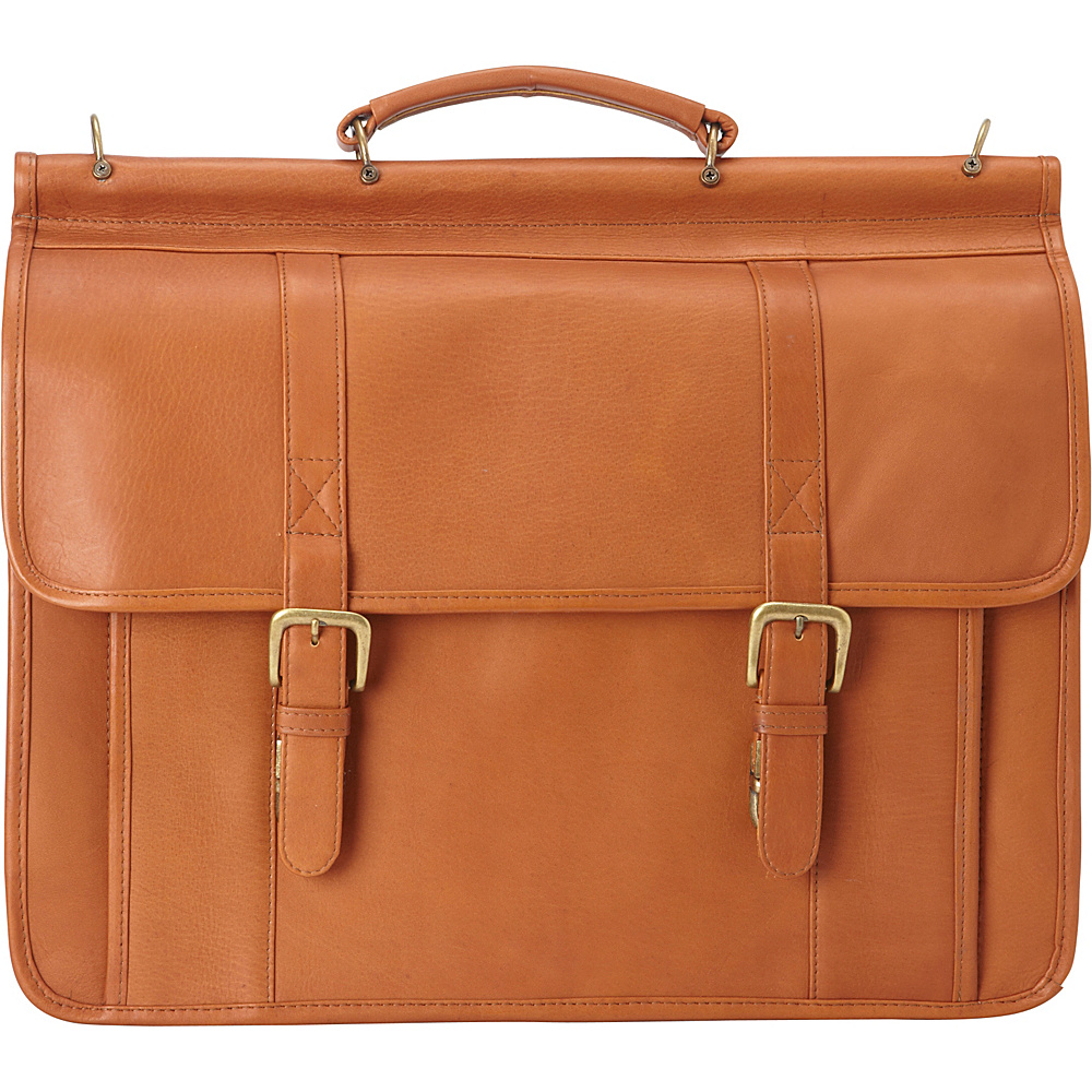 Le Donne Leather Classic Dowel Rod Laptop Briefcase Tan - Le Donne Leather Non-Wheeled Business Cases