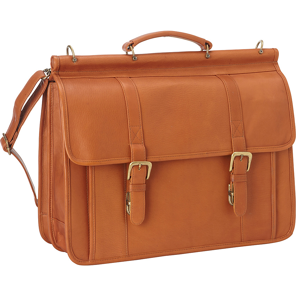 Le Donne Leather Classic Dowel Rod Laptop Briefcase Tan - Le Donne Leather Non-Wheeled Business Cases - Work Bags & Briefcases, Non-Wheeled Business Cases