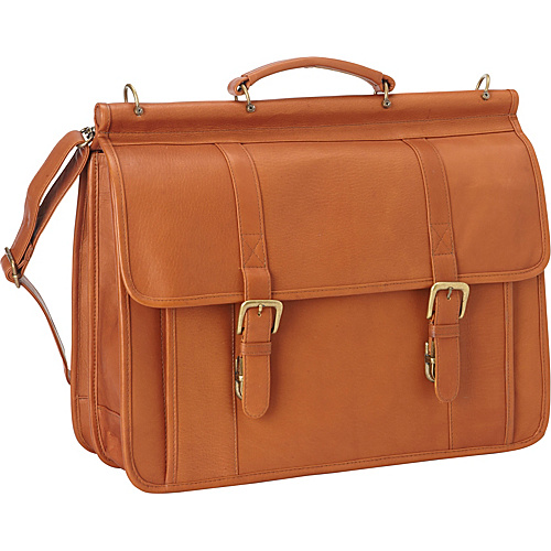 Le Donne Leather Classic Dowel Rod Laptop Briefcase Tan - Le Donne Leather Non-Wheeled Computer Cases