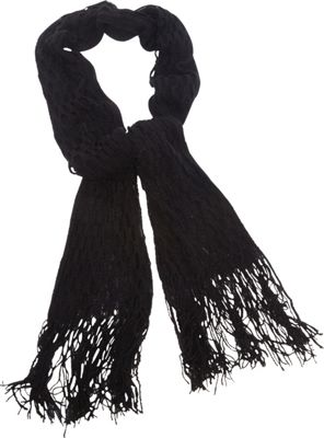 Magid Net Knit Fringe Scarf Black - Magid Hats/Gloves/Scarves