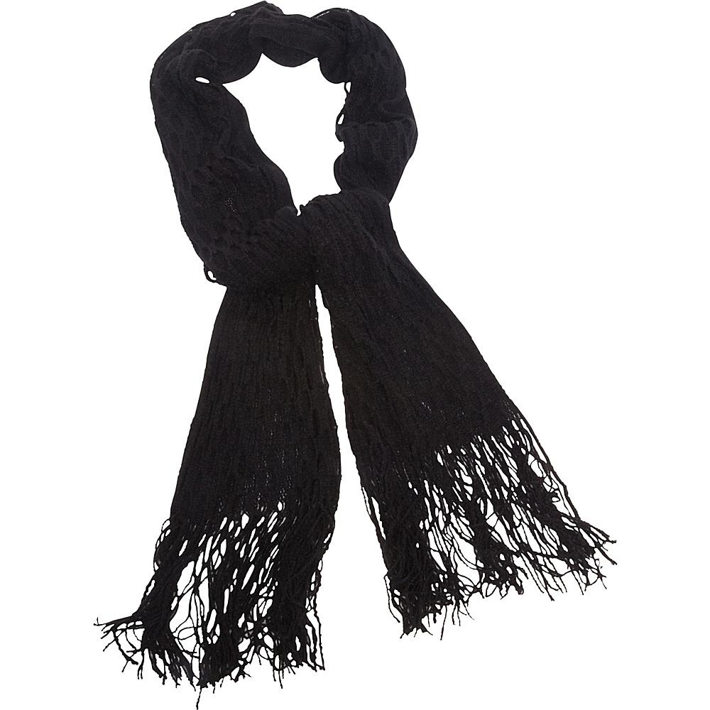 Magid Net Knit Fringe Scarf Black Magid Hats Gloves Scarves