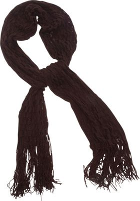 Magid Net Knit Fringe Scarf Brown - Magid Hats/Gloves/Scarves
