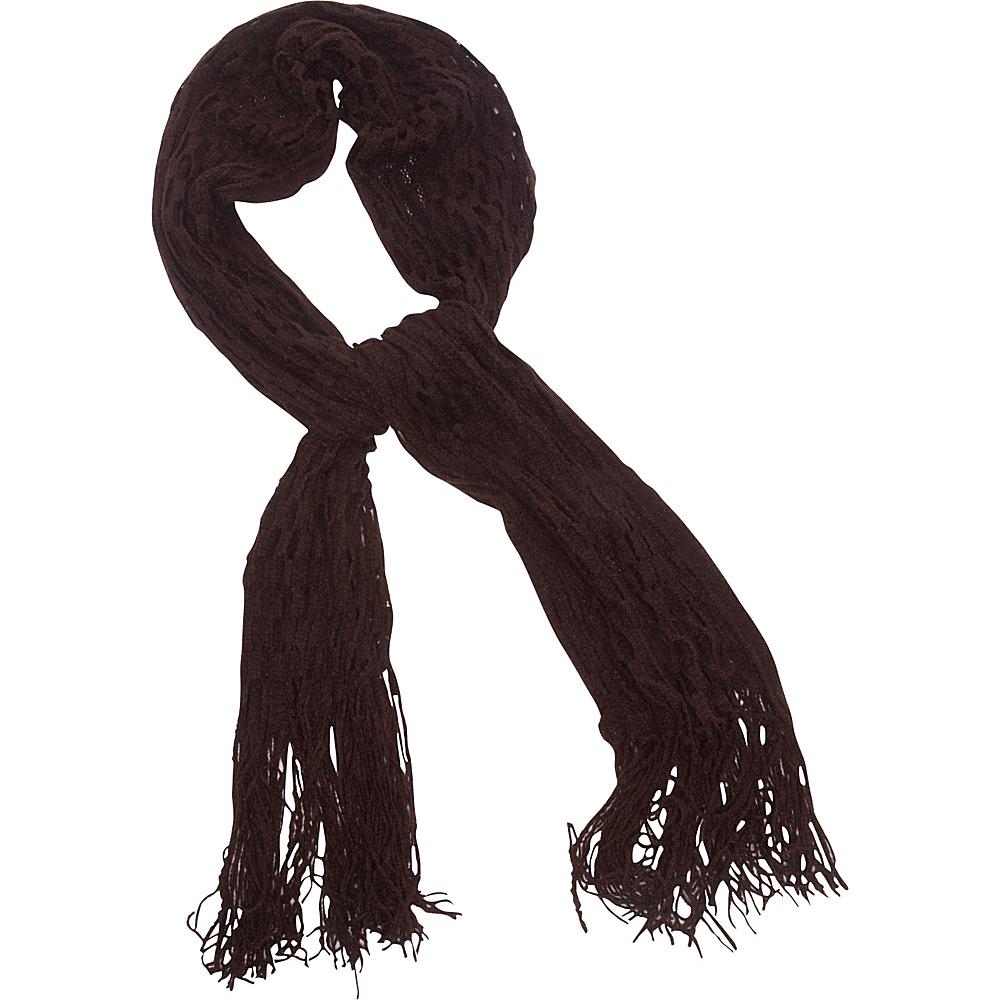Magid Net Knit Fringe Scarf Brown Magid Hats Gloves Scarves