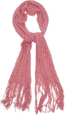 Magid Net Knit Fringe Scarf Coral - Magid Hats/Gloves/Scarves
