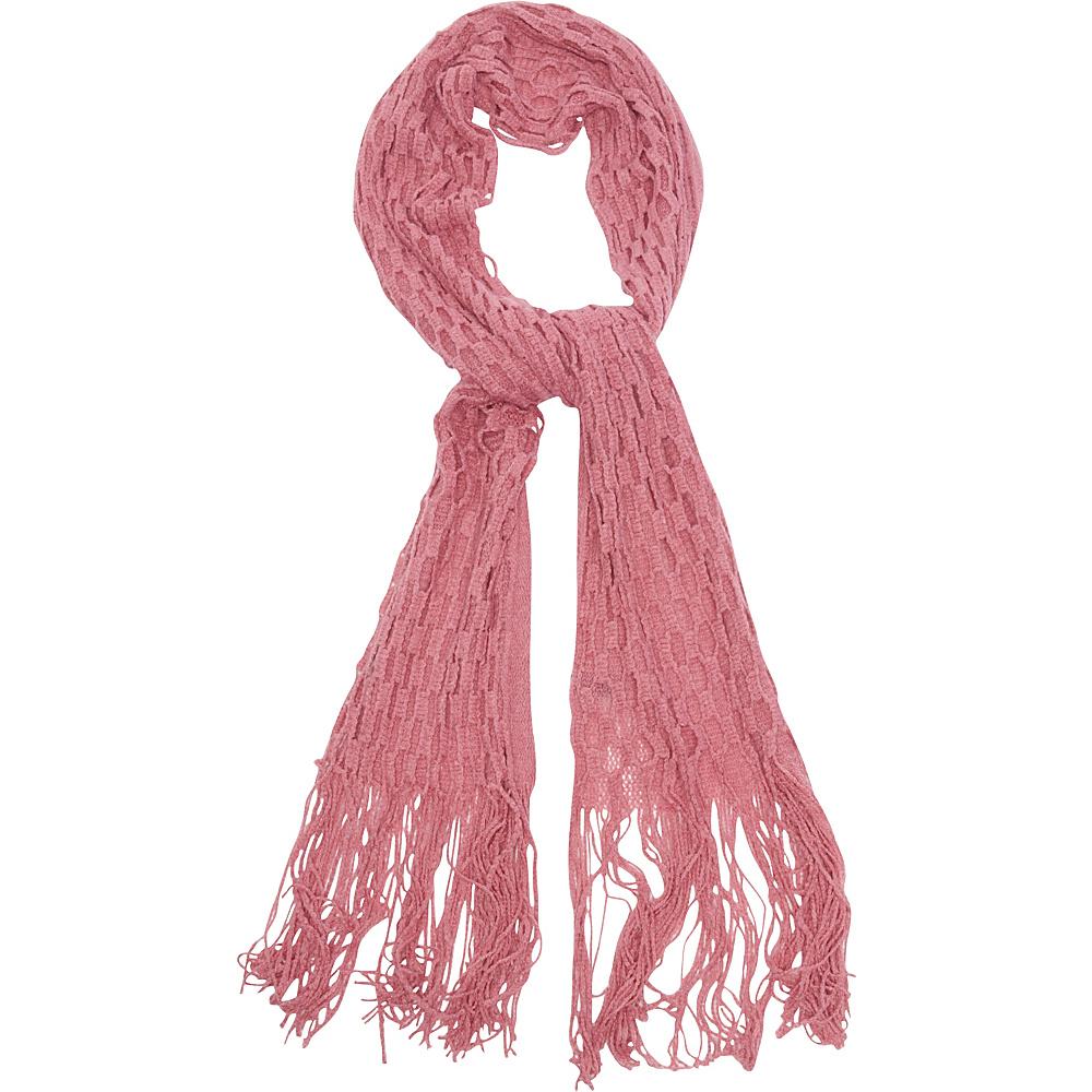 Magid Net Knit Fringe Scarf Coral Magid Hats Gloves Scarves
