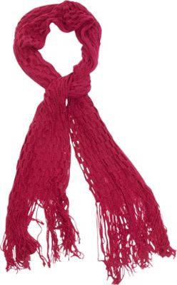 Magid Net Knit Fringe Scarf Fuschia - Magid Hats/Gloves/Scarves