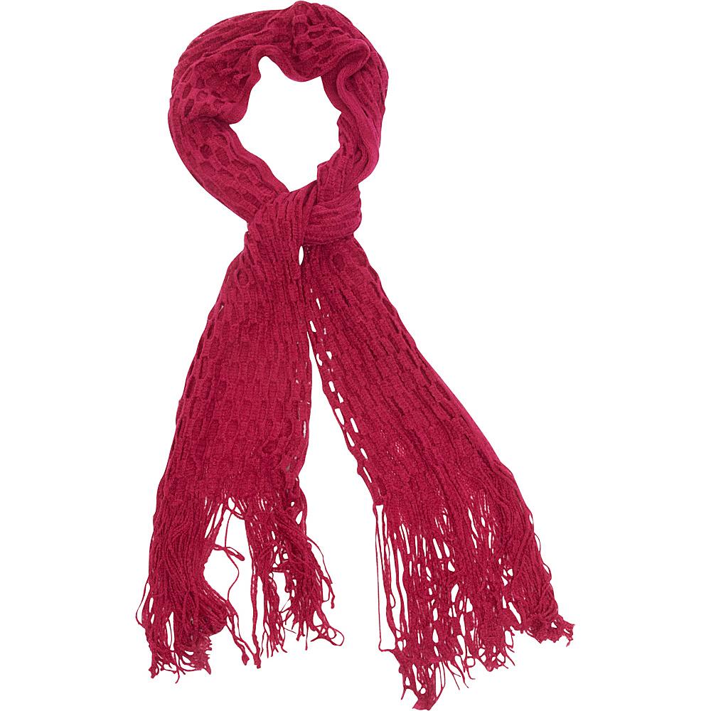 Magid Net Knit Fringe Scarf Fuschia Magid Hats Gloves Scarves