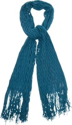 Magid Net Knit Fringe Scarf Teal - Magid Hats/Gloves/Scarves