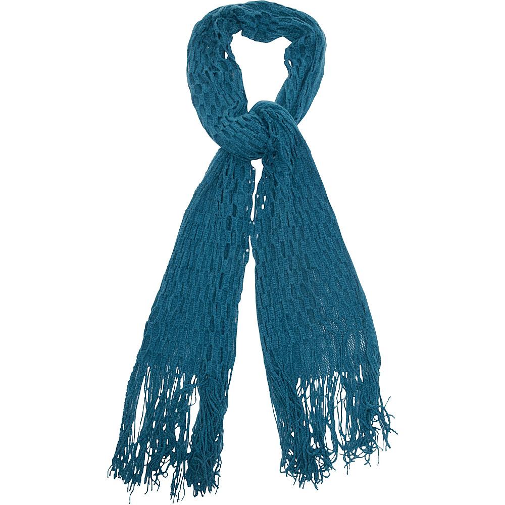 Magid Net Knit Fringe Scarf Teal Magid Hats Gloves Scarves