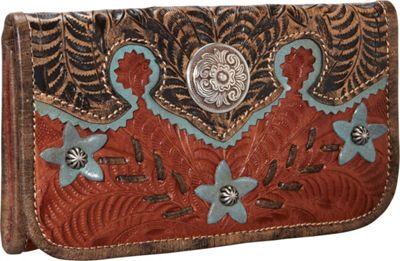 American West Desert Wildflower Tri-Fold Wallet Antique Tan - American West Women's Wallets