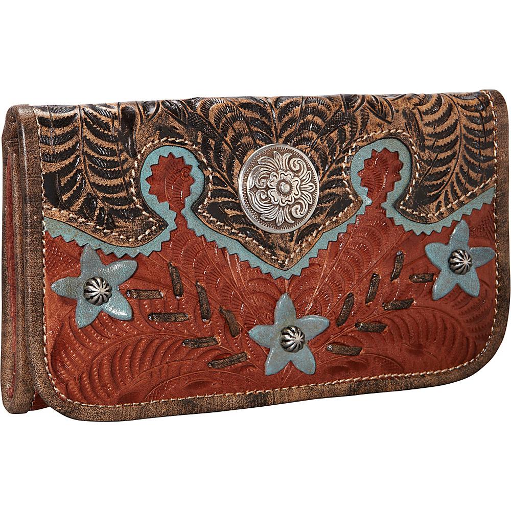 American West Desert Wildflower Tri Fold Wallet Antique Tan American West Women s Wallets