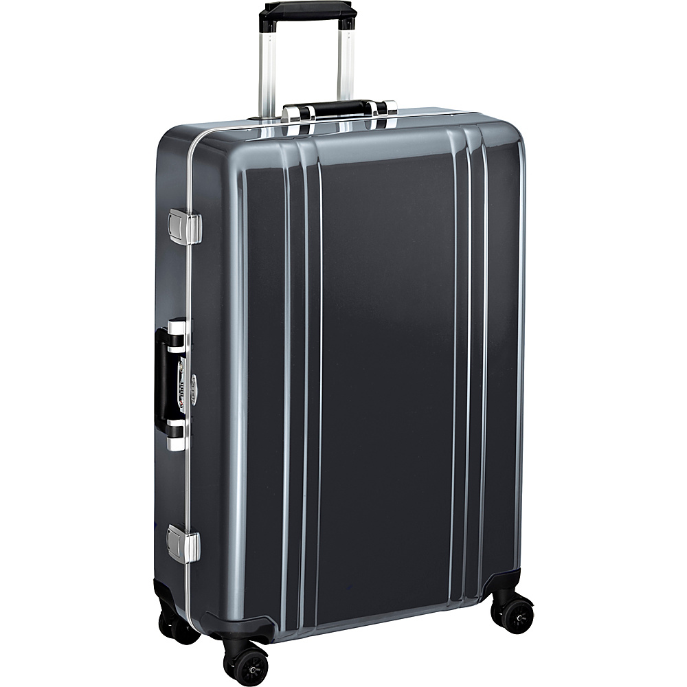 "Zero Halliburton Classic Polycarbonate 28"" 4 Wheel Spinner Travel Case Gun Metal (GM) - Zero Halliburton Hardside Checked"