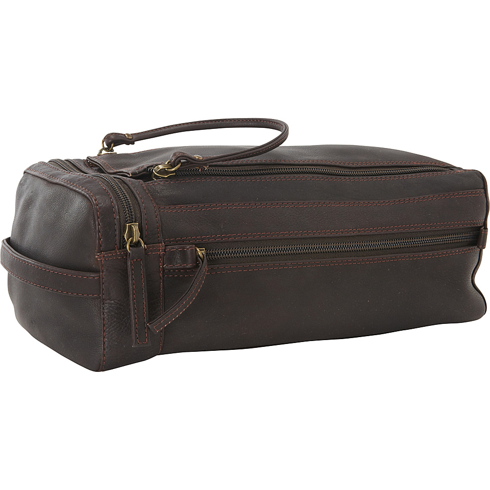 Derek Alexander Twin Top Zip Shave Kit Brown - Derek Alexander Toiletry Kits - Travel Accessories, Toiletry Kits