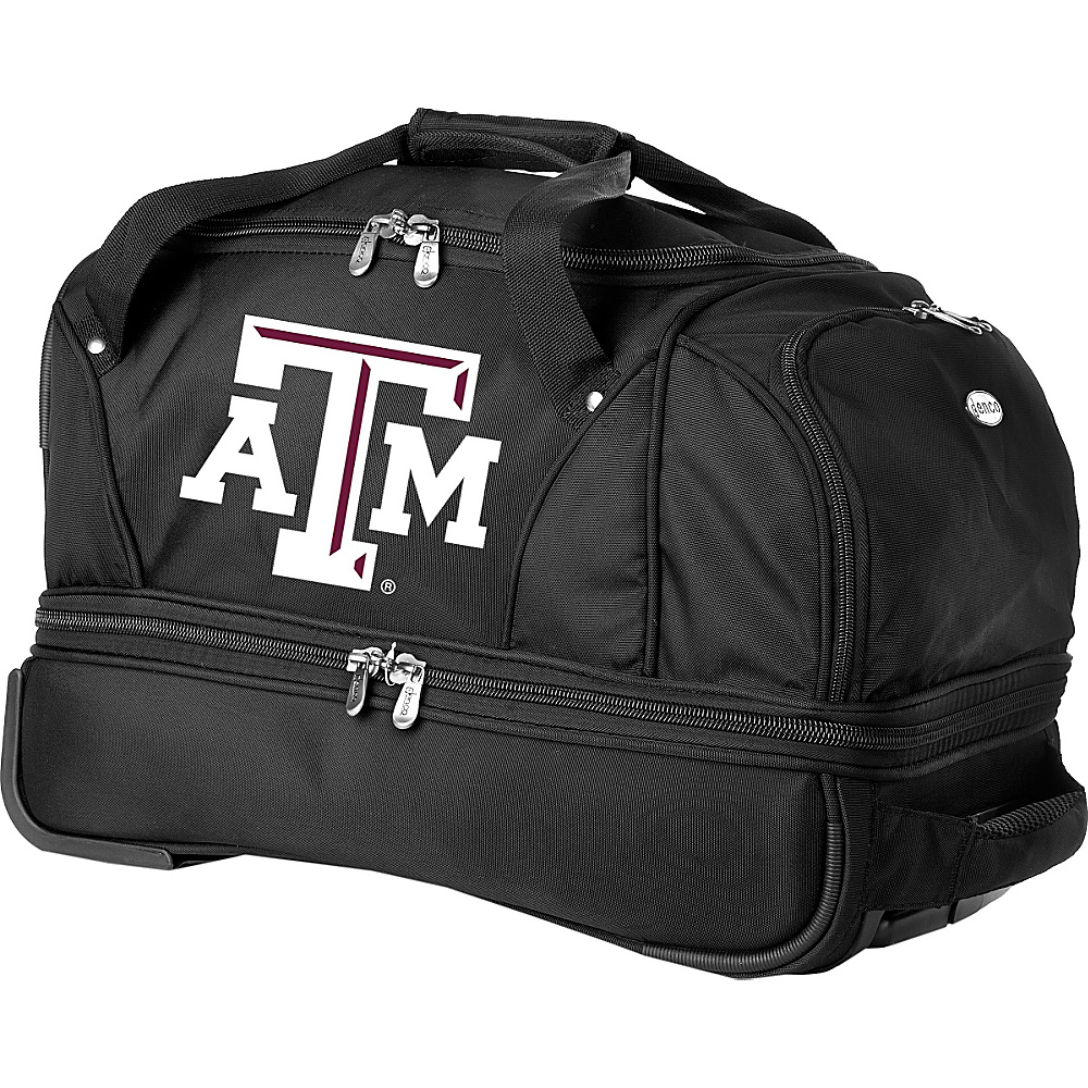 Denco Sports Luggage NCAA Texas A&M University Aggies 22 Drop Bottom Wheeled Duffel Bag Black - Denco Sports Luggage Travel Duffels - Luggage, Travel Duffels