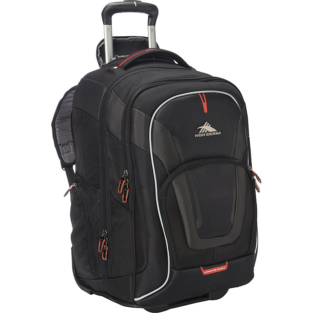 High Sierra AT7 Wheeled Computer Backpack Black - High Sierra Rolling Backpacks