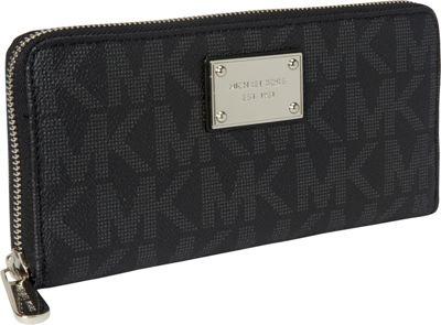 MICHAEL Michael Kors Jet Set Item MK Logo ZA Continental Wallet Black - MICHAEL Michael Kors Designer Handbags