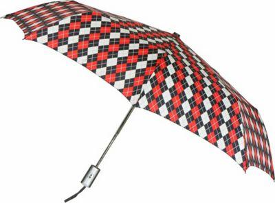 Leighton Umbrellas Manhattan Automatic Umbrella red/black argyle - Leighton Umbrellas Umbrellas and Rain Gear