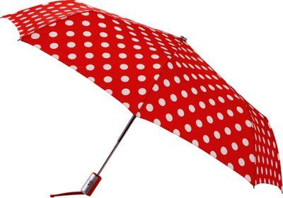 Leighton Umbrellas Manhattan Automatic Umbrella red with white polka dots - Leighton Umbrellas Umbrellas and Rain Gear