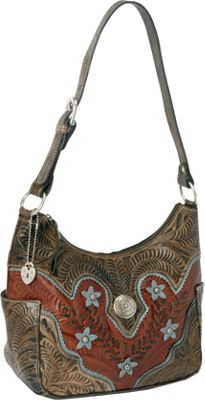 American West Desert Wildflower Zip-top Hobo Antique Brown/Distressed Charcoal Brown/Sky Blue - American West Leather Handbags