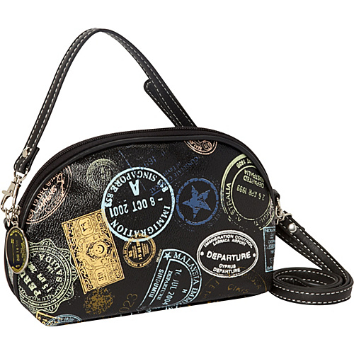 Sydney Love Bon Voyage Passport Print Cross Body Black - Sydney Love Manmade Handbags