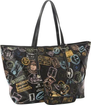 Sydney Love Bon Voyage Passport Print Large Tote Black - Sydney Love Manmade Handbags