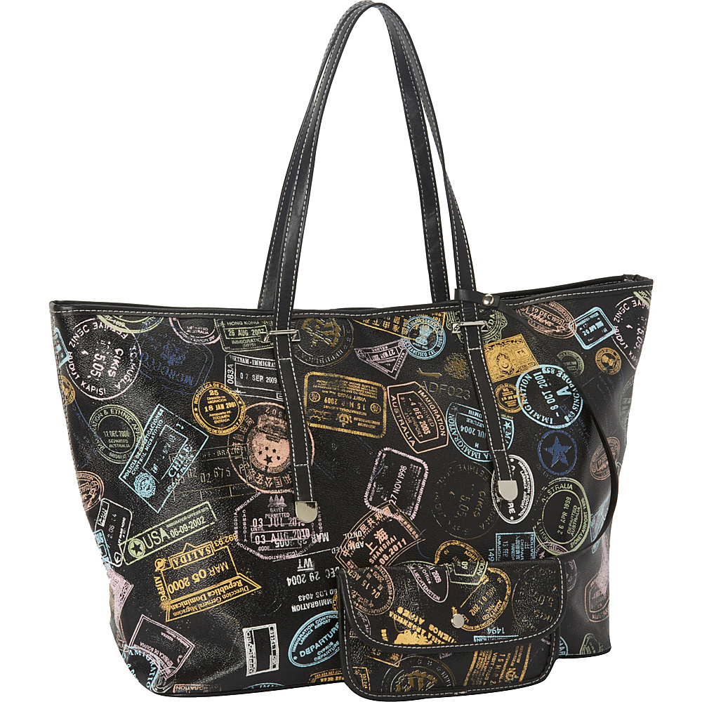 Sydney Love Bon Voyage Passport Print Large Tote Black - Sydney Love Manmade Handbags