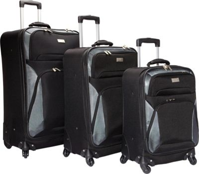 Geoffrey Beene Luggage Brentwood 3 Pc Spinner Wheel Collection Black/Blue - Geoffrey Beene Luggage Luggage Sets