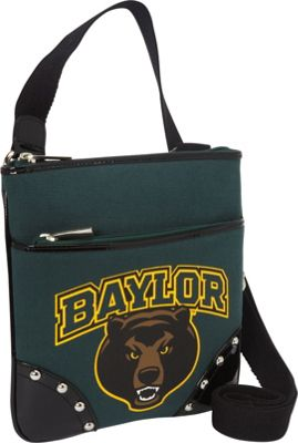 Ashley M Baylor University Bear Canvas Cross-Body Bag with Studded Patent Leather Trim Green - Ashley M Fabric Handbags