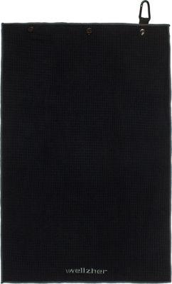 Wellzher Premium Microfiber Dual-action Golf Towel & Retractable Golf Ball Towel Black - Wellzher Sports Accessories