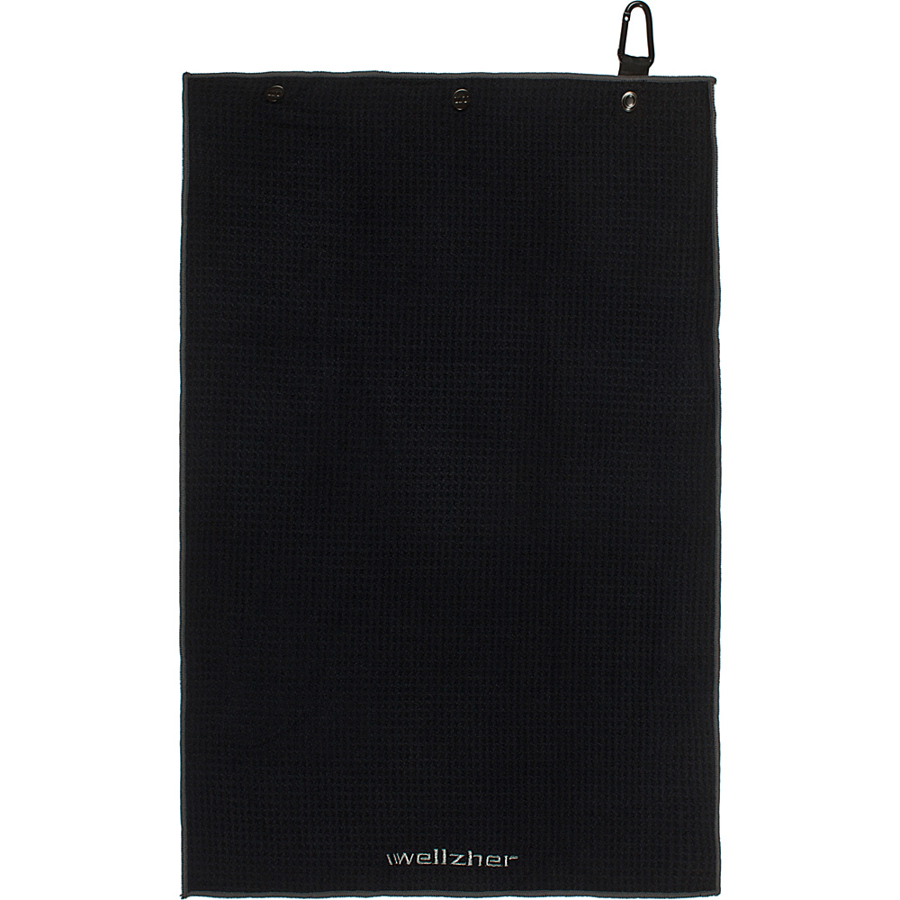 Wellzher Microfiber Golf Towel For Ball Premium Dual Action Retractable Black