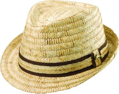 Tommy Bahama Headwear Burned Raffia Fedora S/M - Natural - Tommy Bahama Headwear Hats/Gloves/Scarves