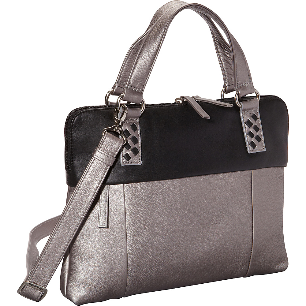 Derek Alexander East West Top Zip Twin Handles Silver/Black (SVR/BK) - Derek Alexander Leather Handbags - Handbags, Leather Handbags
