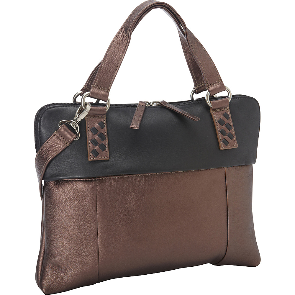 Derek Alexander East West Top Zip Twin Handles Bronze/Black - Derek Alexander Leather Handbags - Handbags, Leather Handbags