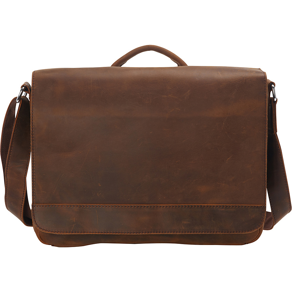 Vagabond Traveler 15 Cowhide Leather Casual Messenger Bag with Top Lift Handle Vintage Distress - Vagabond Traveler Messenger Bags - Work Bags & Briefcases, Messenger Bags