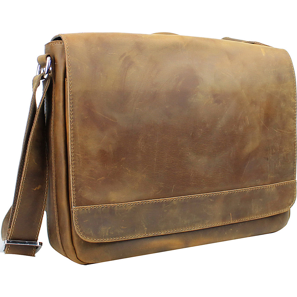 Vagabond Traveler 15 Cowhide Leather Casual Messenger Bag with Top Lift Handle Vintage Brown - Vagabond Traveler Messenger Bags - Work Bags & Briefcases, Messenger Bags