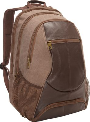 R & R Collections Leather & Canvas Laptop Backpack With Shoe Compartment Brown - R & R Collections Business & Laptop Backpacks