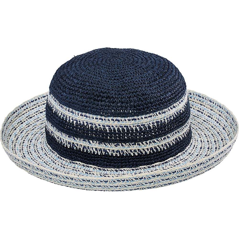 San Diego Hat Ultra Braid Striped Kettle Brim Hat Indigo San Diego Hat Hats Gloves Scarves