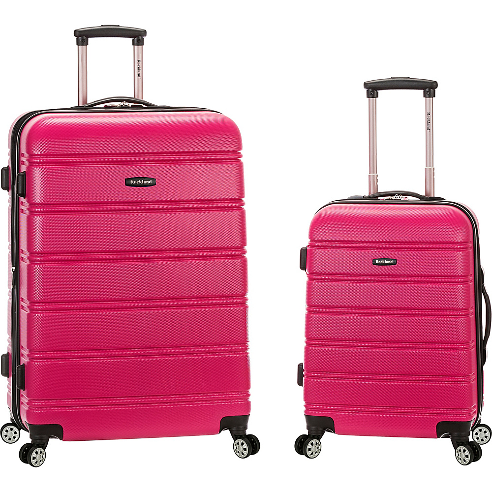 Rockland Luggage Melbourne 2 Pc Expandable ABS Spinner Luggage Set Magenta Rockland Luggage Luggage Sets