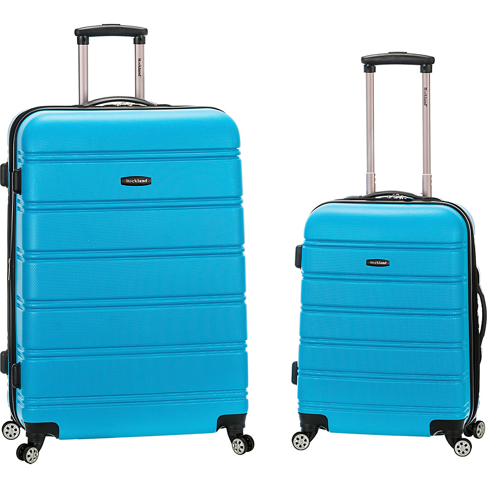 Rockland Luggage Melbourne 2 Pc Expandable ABS Spinner Luggage Set Turquoise Rockland Luggage Luggage Sets