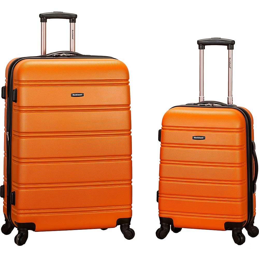 Rockland Luggage Melbourne 2 Pc Expandable ABS Spinner Luggage Set Orange Rockland Luggage Luggage Sets
