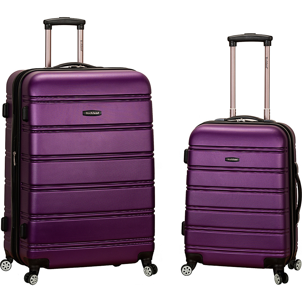 Rockland Luggage Melbourne 2 Pc Expandable ABS Spinner Luggage Set Purple Rockland Luggage Luggage Sets