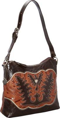 American West Eagle Heart Shoulder Bag Chocolate/Tan/Cream - American West Leather Handbags