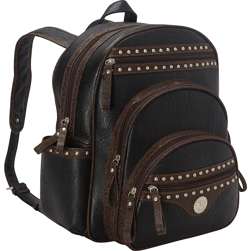 Bandana Lake Tahoe Collection Backpack Black Embossed Brown Bandana Leather Handbags