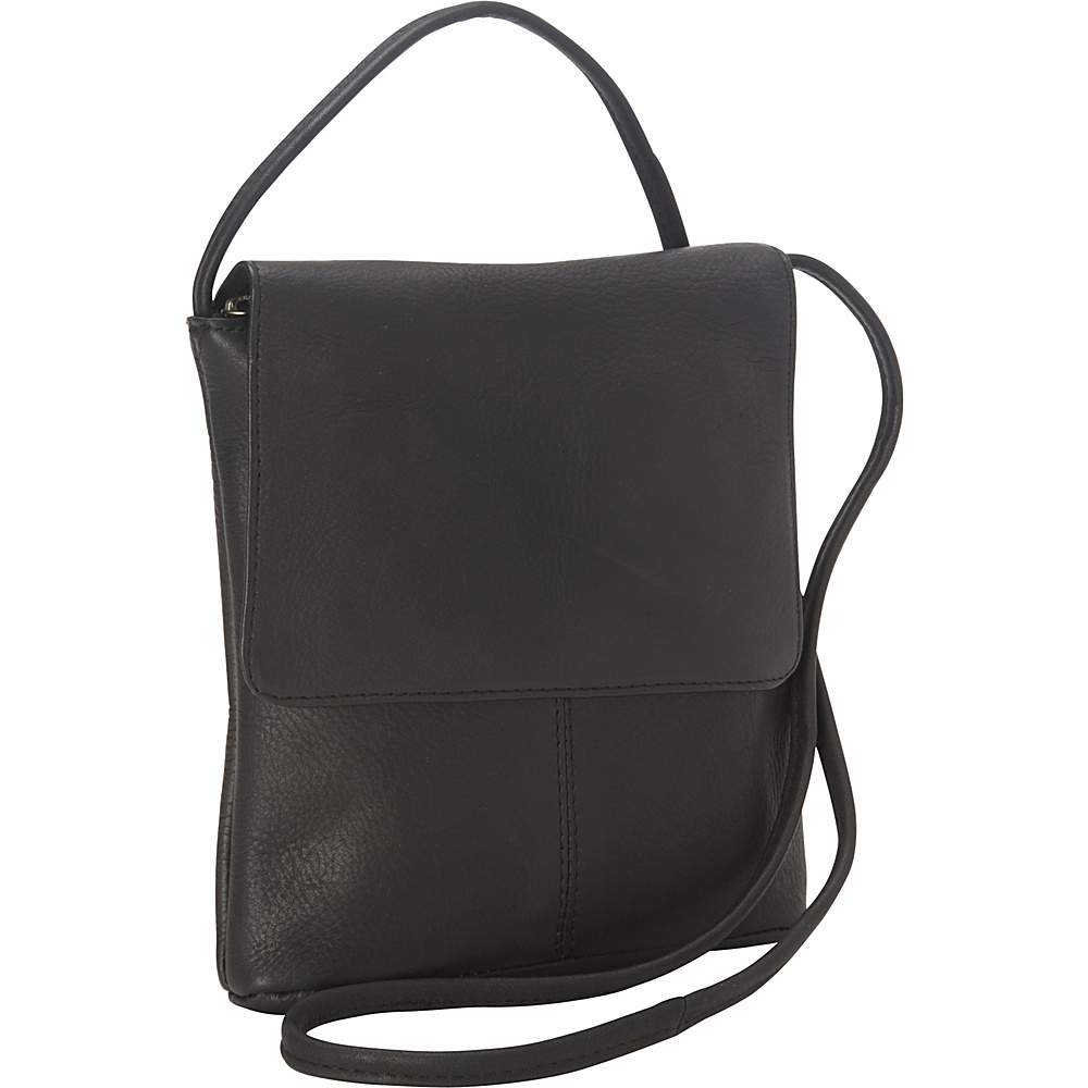 "Royce Leather Vaquetta Small Flap Over Crossbody Bag Black 36"" - Royce Leather Leather Handbags"