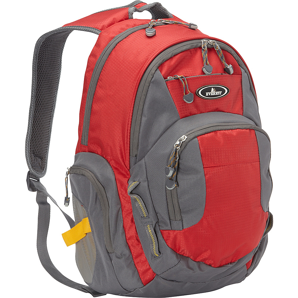 Everest Deluxe Traveler s Laptop Backpack Red Gray Everest Business Laptop Backpacks