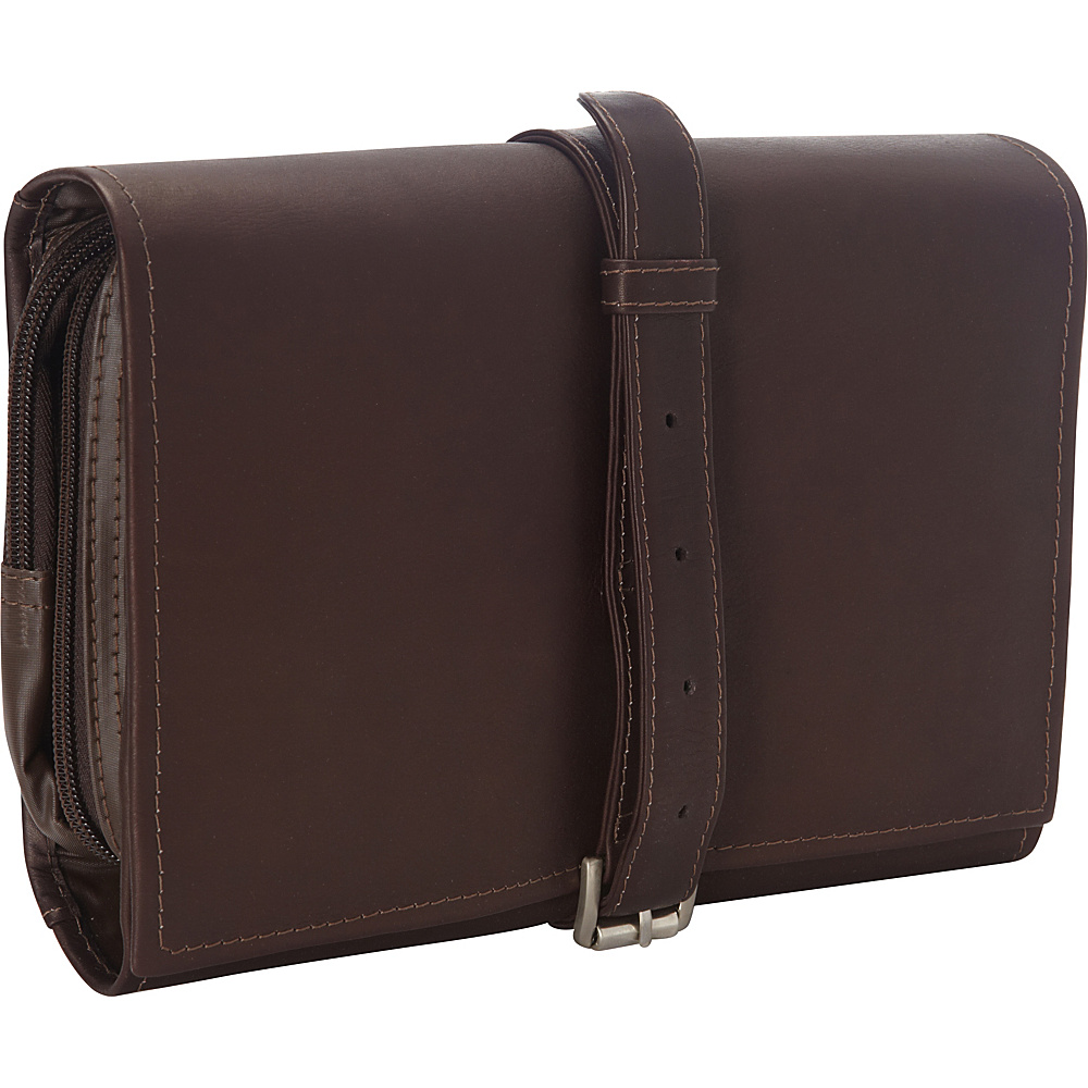 Piel Tri-Fold Bucket Toiletry Kit Chocolate - Piel Toiletry Kits - Travel Accessories, Toiletry Kits