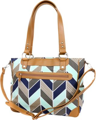 Kailo Chic Laptop and Camera Tote Navy and Mint Chevron - Kailo Chic Camera Accessories