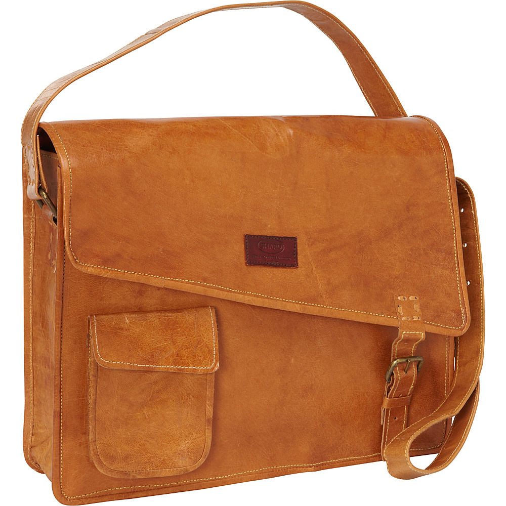 Sharo Leather Bags Women's Computer Messenger Bag Orange-Yellow - Sharo Leather Bags Messenger Bags