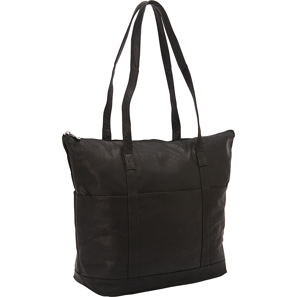 David King & Co. Large Multi Pocket Shopping Tote Black - David King & Co. Leather Handbags
