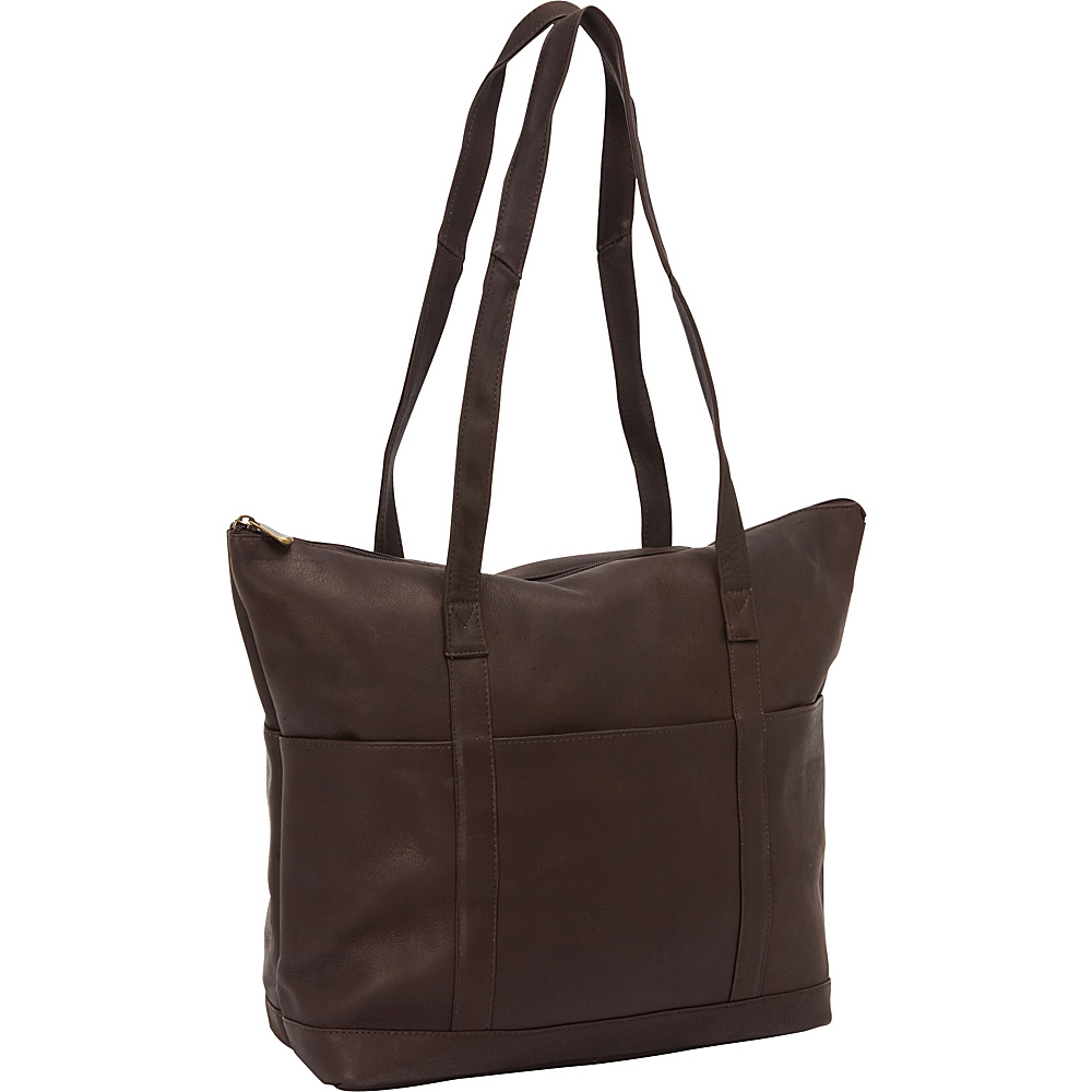 David King & Co. Large Multi Pocket Shopping Tote Cafe - David King & Co. Leather Handbags